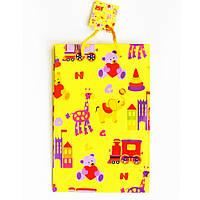 Подарочный пакет (Средний узкий) 16х25х7 см Детский Жёлтый