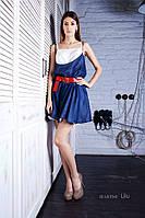 Платье женское, синее/молочное, летнее  P-LILU