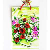 Подарочный пакет Средний узкий 16х25х7см Букет розы, орхидеи
