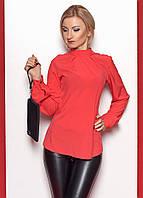 Женская блуза кораллового цвета с длинным рукавом на манжете и воротником-стойка. Модель 374.