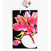 Подарочный пакет 16х25х7(Средний узкий) Тюльпаны в  вазе