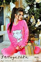 Махровый костюм для дома Мишка розовый