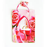 Подарочный пакет Средний узкий 16х25х7см  Свадебный