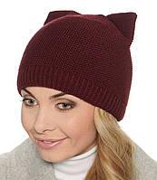 Женская вязаная зимняя шапка - кошка.