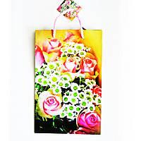 Подарочный пакет Средний узкий 16х25х7см Букет розы с ромашками