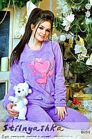 Махровый костюм для дома Мишка лиловый