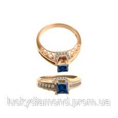 Кольцо з синім цирконом