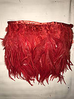 Пір'яна тасьма з пір'я півня.Колір червоний.Ціна за 0,5 м