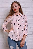 Нежная персиковая блуза с принтом балерина
