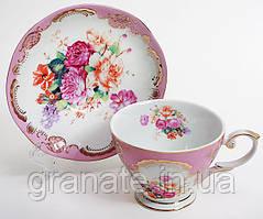 """Чайная подарочная чашка с блюдцем """"Цветы"""", Чашка 200 мл+блюдце, 2 вида"""