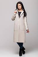 Модное молодежное светло-бежевое пальто Венеция Leo Pride 46-48 размеры
