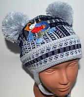 """Детская вязаная шапка, весна - осень """"МИШКА С МЕДОМ"""", Код М 917"""