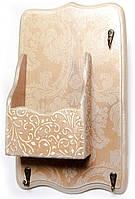 Ключница вешалка с ящиком деревянная Ажур