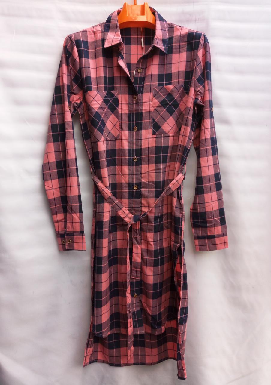 Платье в клетку коттоновое женское (длинный рукав с манжетом)