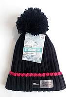 Шапка вязанная с бубоном на подростка зимняя флисовая подкладка Crivit sports ПО головы 21