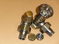 """Комплект ретро кранів для підключення радіатора 1/2"""" кутовий flower bronze Carlo Poletti"""