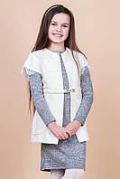 Теплый комплект.Платье и жилет для девочки 140р.