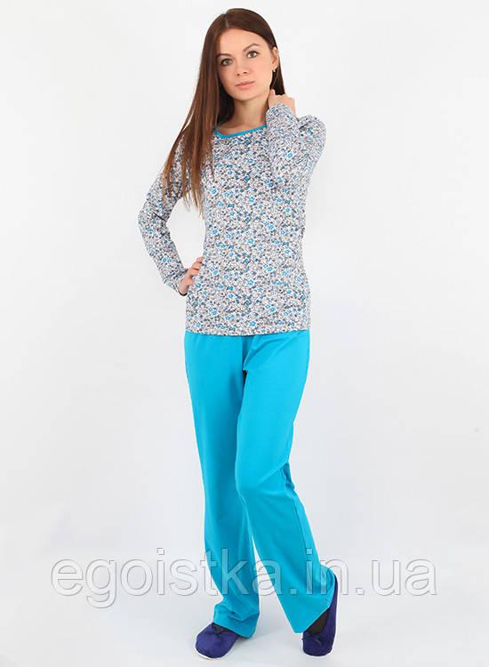 Хлопковая пижама голубого цвета (в размере S - 2XL)  продажа ddb6acbc83a27