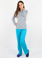 Хлопковая пижама голубого цвета (в размере S - 2XL)