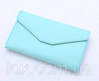 Женский нежно-голубой портмоне-чехол для телефона