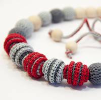 """Коллекция Ярмирина """"Монако"""" серо-красного цвета: бусы, браслеты, серьги"""