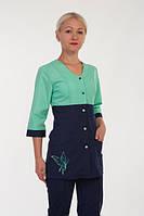 Модный медицинский женский костюм с бабочкой ( зелёный ) 2290