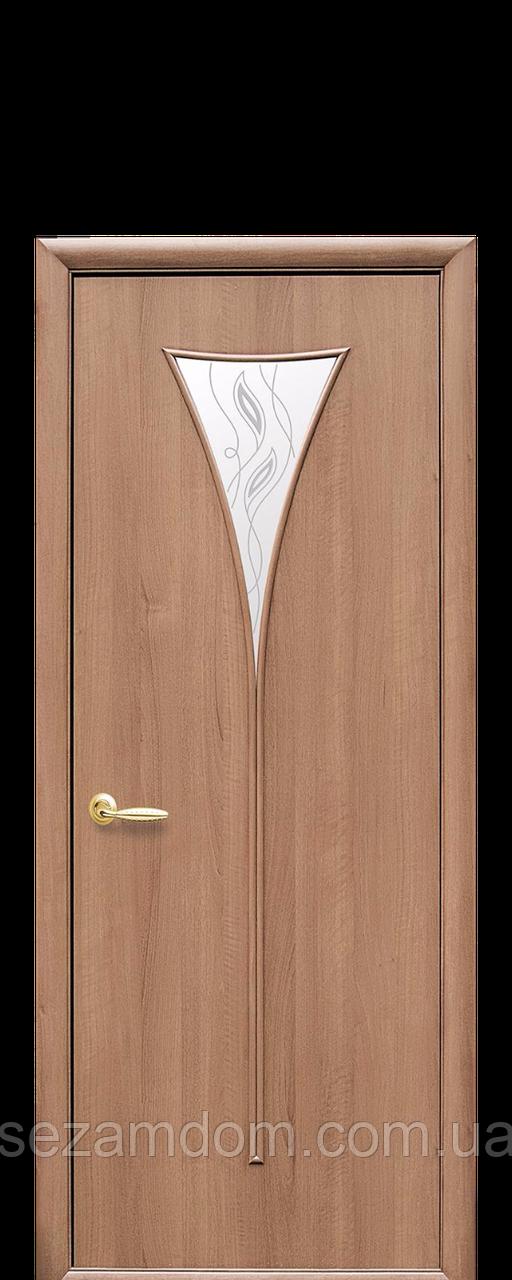 Дверь межкомнатная БОРА СО СТЕКЛОМ САТИН И РИСУНКОМ  №3 ПВХ