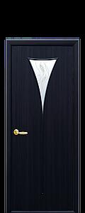 Дверь межкомнатная БОРА СО СТЕКЛОМ САТИН И РИСУНКОМ №3 Экошпон