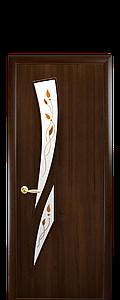Дверь межкомнатная КАМЕЯ СО СТЕКЛОМ САТИН И РИСУНКОМ Р1 ПВХ
