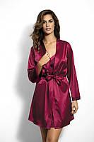 Бордовый атласный халат в размере XL, фото 1