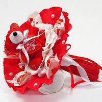 Букет из игрушек Мишка красный с рафаэлло
