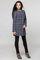 Модное молодежное серое  пальто в клеточку Париж  Leo Pride 42-48 размеры