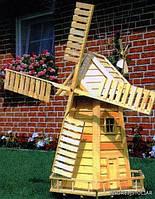 Мельница из дерева  для ландшафтного дизайна и садового декора