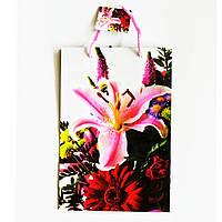 Подарочный пакет Средний узкий 16х25х7см  Орхидея