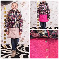 Весенняя куртка-трансформер Роза с отстежной юбкой