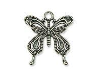 Металлическая подвеска-шармик - Бабочка-серебрянка, античное серебро, 25x23 мм, 1 шт