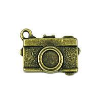 Металлическая подвеска-шармик - Фотокамера, античная бронза, 18x13 мм, 1 шт