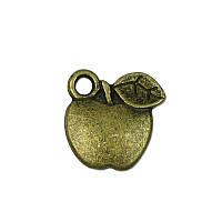 Металлическая подвеска-шармик - Яблоко, античная бронза, 13x13 мм, 1 шт