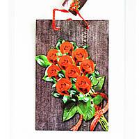 Подарочный пакет Средний узкий 16х25х7см  Букет роз