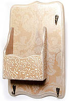 Ключница вешалка с ящиком настенная Ажур