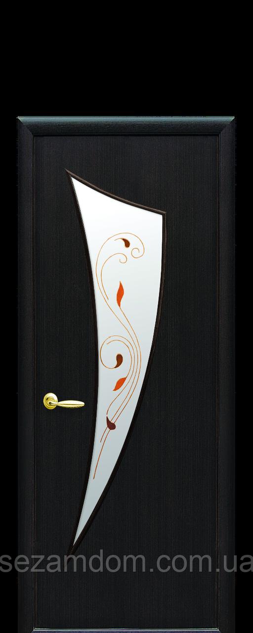 Дверь межкомнатная ПАРУС СО СТЕКЛОМ САТИН И РИСУНКОМ Р2 Экошпон