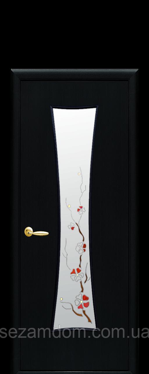 Дверь межкомнатная ЧАСЫ СО СТЕКЛОМ САТИН И РИСУНКОМ Р1 Золотая ольха