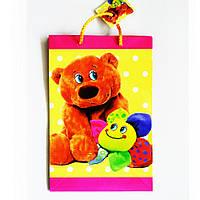 Подарочный пакет Средний узкий 16х25х7см Медвежонок плюшевый