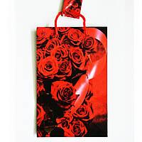 Подарочный пакет Средний узкий 16х25х7см Розы красные