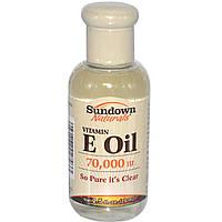 Масло с витамином Е для волос и кожи Vitamin E Oil Sundown Naturals, 70000 МЕ, 75 мл