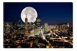 Светящиеся картина Startonight Луна над Городом Пейзаж Декор стен Дизайн дома Интерьер