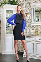 Блуза классическая шифоновая ФРАНСУАЗА синяя
