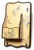 Ключница вешалка с ящиком деревянная Оливка