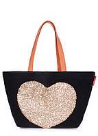 Женская повседневная коттоновая сумка POOLPARTY черная