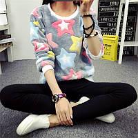 Теплый женский свитер со звездами